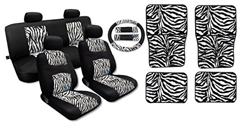 Red Zebra Stripe - 17 Piece Premium Fur Print on Black Mesh Zebra Accent Stripes - Comfy Mesh - Front Pair Bench Steering Wheel Set PLUS Red Zebra 4pc Floor Mats (Black and White Zebra Print)