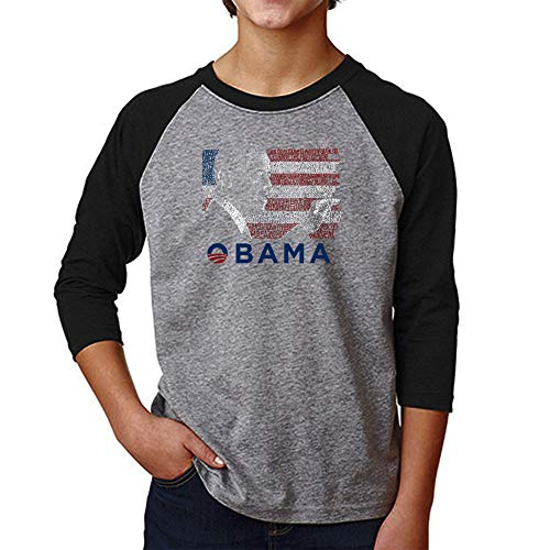 - LA POP ART Boy's Raglan Baseball Word Art T-Shirt - Barack Obama - All Lyrics to America The Beautiful Black