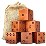 Yardzee & Yardkle Giant Yard Dice Set (6 Dice) with Jute Drawstring Bag, Big Laminated Score Cards, & Dry Erase Marker | Backyard Lawn Game for Kids, Adults, & Family | Indoor & Outdoor