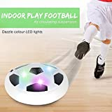 Soccer HoverBall ~ Air Powered Amazing Hover Ball With LED Lights ~ Sports Flying Disk With Foam Bumpers for Safe Indoor Outdoor Play ~ Fun Football Game for Boys and Girls - Develop Motor Skills