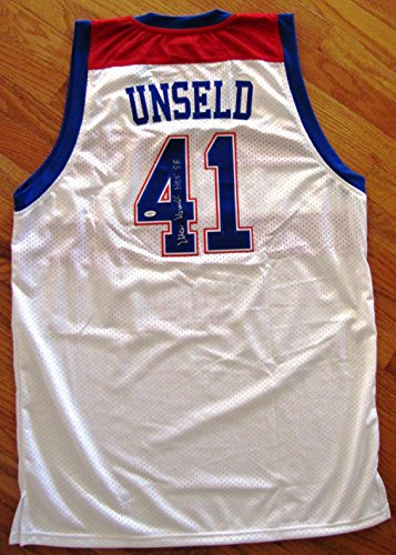(Wes Unseld Autographed Custom White Jersey with Hall of Fame Inscription - Washington Bullets/Wizards Legend)