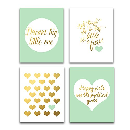 Mint and Gold nursery wall art for girls Set of Four Prints Unframed