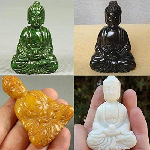 Viet JK Old Jade Statue Pendant - Charming Green Jade Pendant Handwork Carved Buddha Hand-Carved Statue Spiritual Belief Figurines Collectable 1 Pcs