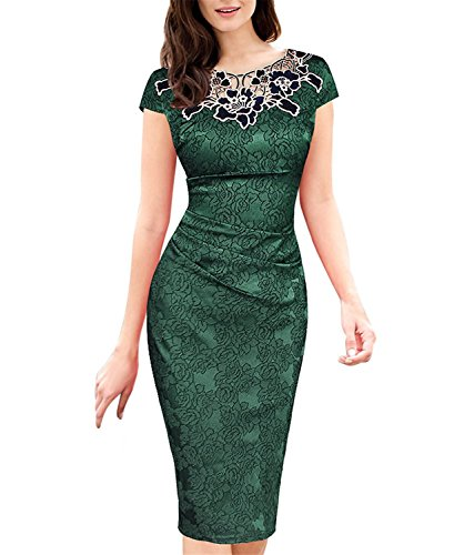 [Leonila Cou Elegant Womens embroidered Dobby fabric Ruched Bodycon Party Cocktail Dress 3543 GRN 14] (60s Dress Up Ideas)