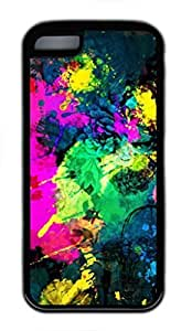 Hu Xiao Custom Soft Black TPU protective case cover for iPhone wpXqV9t8ksO 5C,Colorful Paint Splatter case cover case cover for iPhone 5C