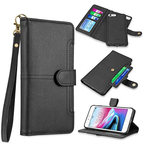 Insten The NAPA Collection Detachable Stand Folio Flip Leather [Card Slot] Wallet Flap Pouch Case Cover Compatible with Apple iPhone 7/8, Black