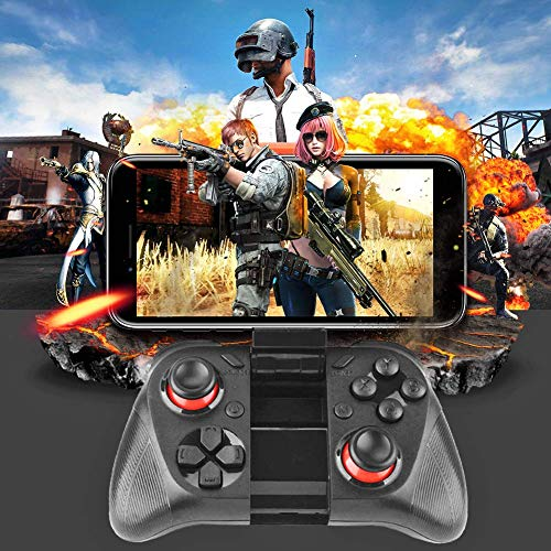 Microware Mocute 050 Bluetooth Game Controller, Wireless Gamepad Joystick with Phone Holder, Compatible for Android Smartphone and PC, 40H Gaming Time