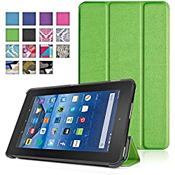 TNP New Fire 7 Case (Green) - Ultra Slim Lightweight Folding Folio Cover Stand with Hard Rubberized Back for Amazon New Fire 7 Inch (5th Generation) 2015 Release Tablet