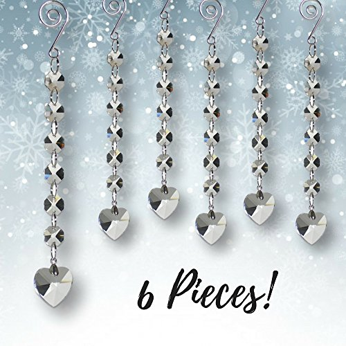 BANBERRY DESIGNS Crystal Hanging Hearts - Set of 6 Crystal Beads Heart Shaped Glass Charms - Christmas Decor - Wedding Decorations - Tree Garland -