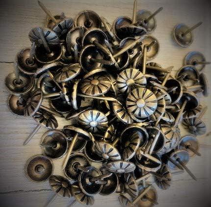 "LOT OF 100 ~ 1//2/"" length Brass Upholstery Tacks Decorative Nail NEW 5//8/"" DIAM"