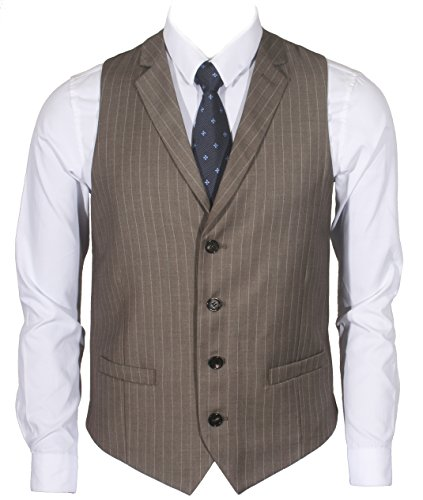 (Ruth&Boaz Men's 2Pockets 4Buttons Business Tailored Collar Suit Vest (L, Brown PIN Stripe))