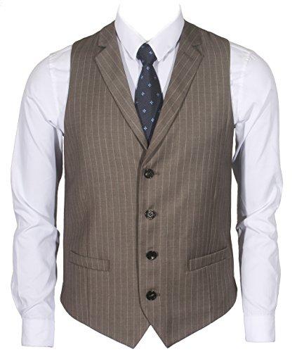 (Ruth&Boaz Men's 2Pockets 4Buttons Business Tailored Collar Suit Vest (L, Brown PIN Stripe))