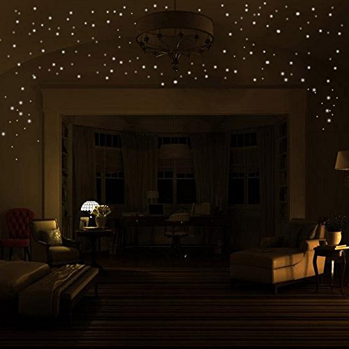 HJuyYuah Glow in The Dark Star Wall Stickers 407Pcs Round Dot Luminous Kids Room Decor (Green)]()