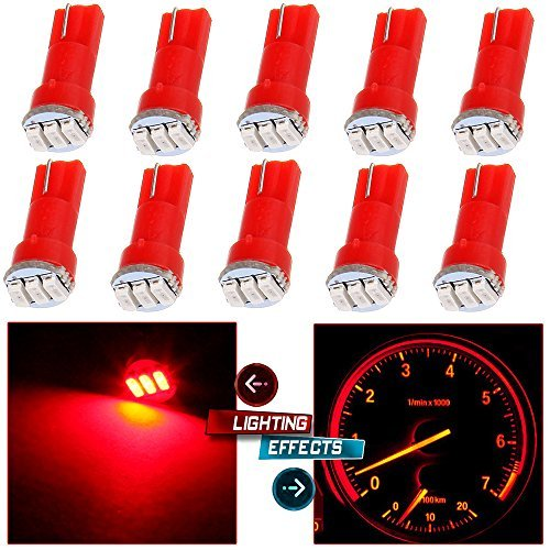 cciyu 10 Pack Red T5 74 3-3014SMD Car Dashboard Panel Gauge Side LED Light Bulbs Lamp 12V For 1995-1997 1999-2002 Dodge Spirit Viper Stealth B3500 B2500 Ram 3500 Ram 2500 Intrepid Avenger Durango