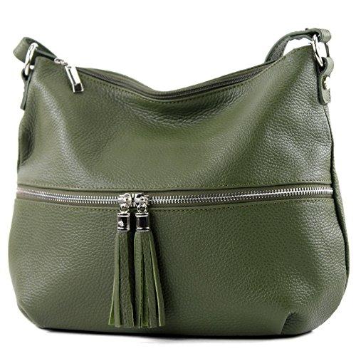 Tasche Damentasche Ledertasche Schultertasche T159 Umhängetasche Leder Olivgrün Modamoda De Ital T8nWXZ