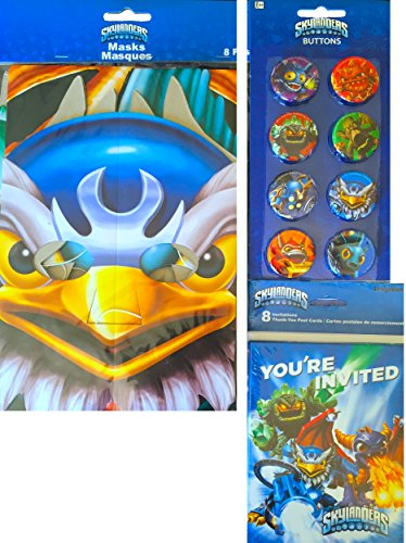 Skylanders Party Supplies Includes Skylanders 8 Paper Masks , Skylanders 8 Invitations Thank You Post Cards , and Skylanders Buttons
