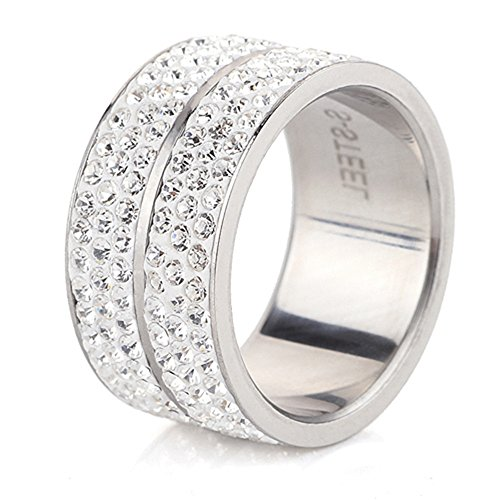 Tuji Jewelry TUJI CZ 6 Rows Lines Crystal Circle Round Eternal Engagement & Wedding Rings for Women