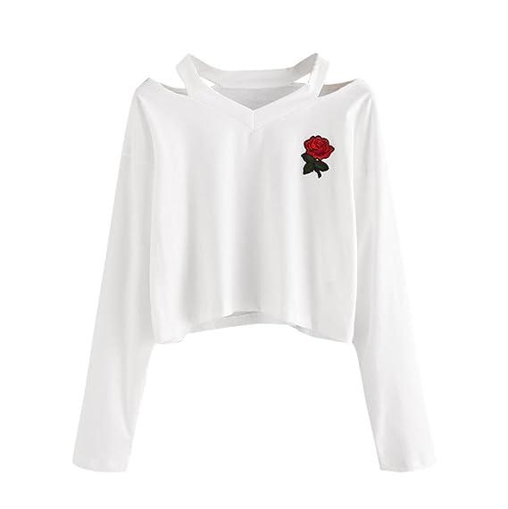 a04db2ae4 Bonjouree Sweat-Shirt Courte Femme Imprimé Rose T-Shirt Manches Longues Ado  Fille Pull Chic