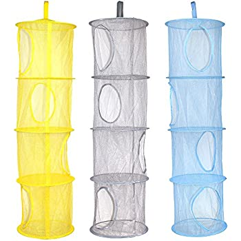 KisSealed 3 Pcs Hanging Mesh Space Foldable 3 Compartments Storage Basket Saver Bags Organizer for Travel,Kids Room,Bathroom and more MSF
