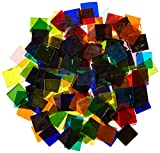School Specialty 405437 Cathedral Stained Glass Square Mosaic Tiles, 4 lb, 3/4'' Square, Assorted Colors (Pack of 450)