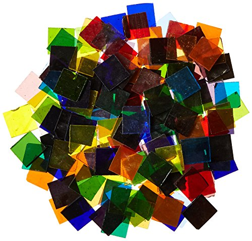 Jennifer's Mosaics Cathedral Stained Glass Square Mosaic Tiles, 3/4 Inch, 4 Pounds - 405437