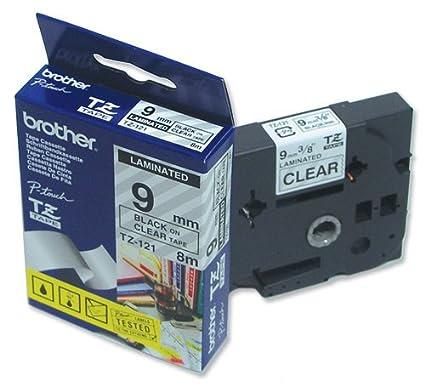 8mtr. 9 mm Beschriftungsband f/ür Brother P-Touch 1090 9mm breit Schwarz auf Farblos Schriftband-Kassette f/ür PTouch 1090