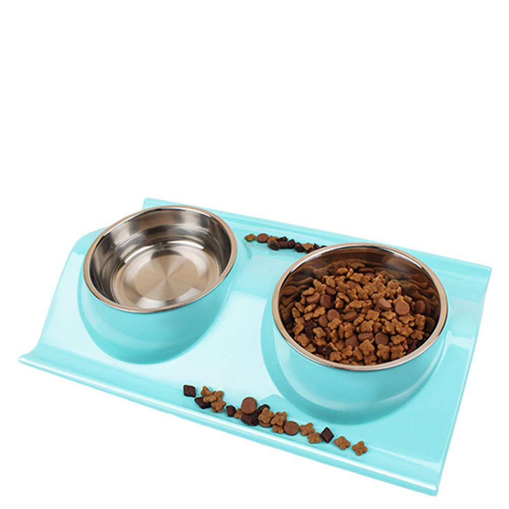 FOREVER-YOU Dog Bowl Dog Basin Cat Bowl cat Food Basin pet Double Bowl Stainless Steel Dog Bowl Cat Bowl, E