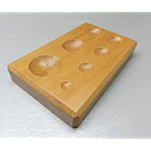 WOOD DAPPING BLOCK WOODEN METAL FORMING ROUND SHAPE JEWELRY SHAPING TOOL 7 SIZES (E 10) NOVELTOOLS