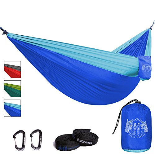 Premium Outdoor Hammock - Large Double Size, Portable & Ultra Light. FREE 10' Tree Straps & Wiregate Carabiners Included. (11 Ft Hammock)