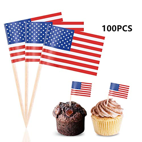 Efivs Arts American Flag 4th of July Cupcake Toppers Picks for Party Decorations Supplies, Toothpicks Flags, 100 Counts