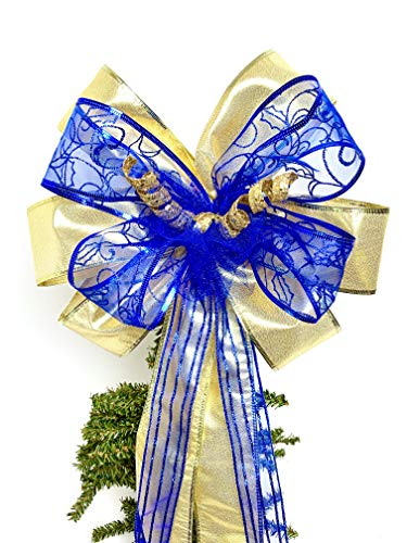 Wreath Bow, Gold Royal Blue Shimmer Wreath Bows, Tree Topper, Large Gift Bow, Wreath Bows, Holiday Bow, Home Decor, Christmas Bows, Swag Bow,- Handmade Bow