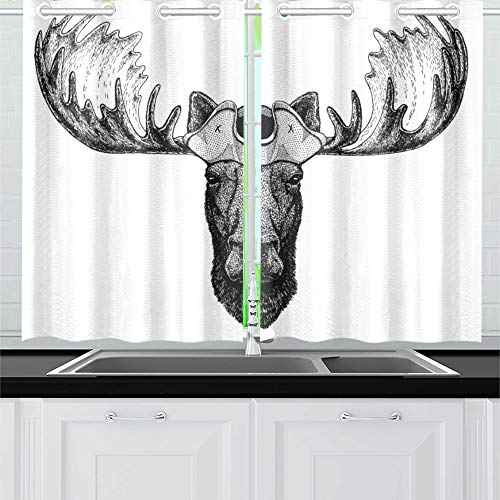 VNASKL Moose Elk Wearing Pirate Tricorn Hat Kitchen Curtains Window Curtain Tiers for Cafe Bath Laundry Living Room Bedroom 26x39inch 2pieces