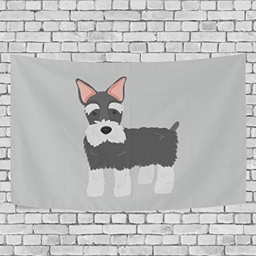 VIMMUCIR Schnauzer Tapestry Wall Hanging for Bedroom Polyester Fabric Cottage School Dorm Wall Art Home Decor 80x60 Inch