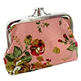 Nevera omen Lady Retro Vintage Flower Small Wallet Hasp Purse Clutch Bag (A-Pink)