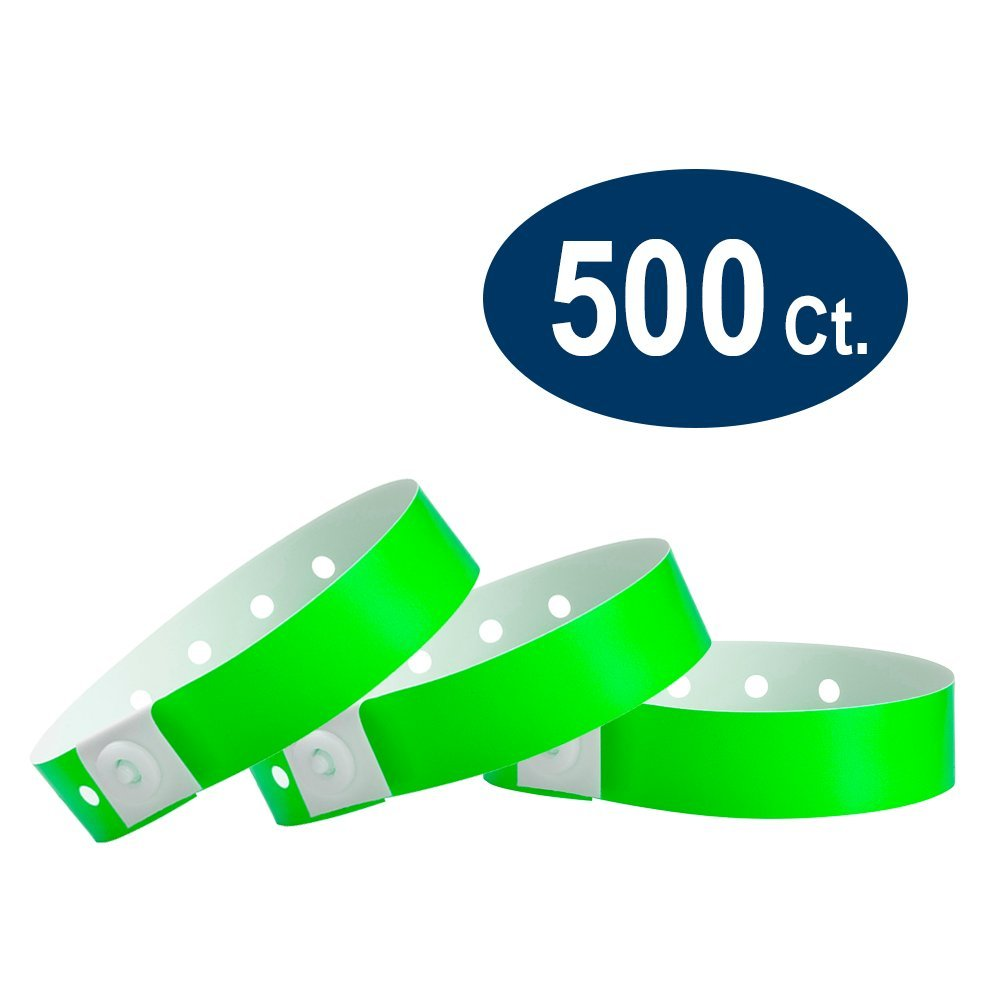 WristCo Neon Green Plastic Wristbands - 500 Pack Wristbands for Events by Wristco