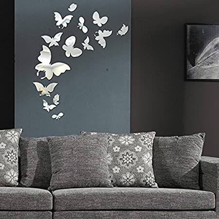 40D Acrylic Butterfly Decoration Crystal Stereo Mirror Wall Stickers New Butterfly Home Decor Accessories