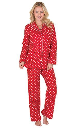 PajamaGram Women's Polka Dot Flannel Boyfriend Pajamas, Red, XLG (16)