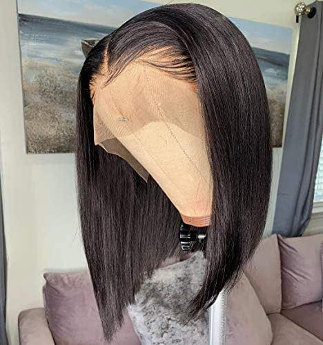 13x6 Short Bob Lace Front Wigs Human Hair For Women Bleached Knots Full End Brazilian Human Hair Wigs density 150% Pre-Plucked (12inch)
