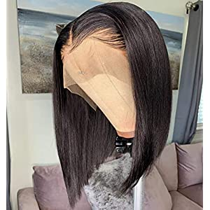 13×6 Short Bob Lace Front Wigs Human Hair For Women Bleached Knots Full End Brazilian Human Hair Wigs density 150% Pre…