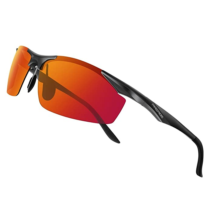 PAERDE - Gafas de sol polarizadas para deporte, de montura irrompible, Black Frame Revo