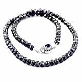 "Barishh 6 MM 24"" 170cts Black Diamond Necklace With Blue Sapphire Clasp in Silver Free Studs"