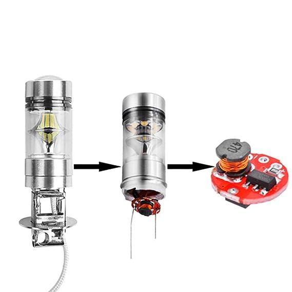 ReFaXi 1x H3 LED Faro antiniebla 12-24V Bombillas de Faro LED 100W Super Brillante Chips Auto conducción Bulbo (Azul): Amazon.es: Hogar