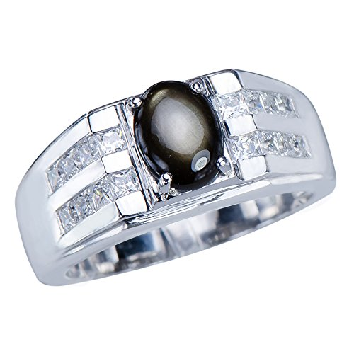 Stunning Mens Natural Black Star Sapphire 1.8ct Gemstone Sterling Silver 925 ...