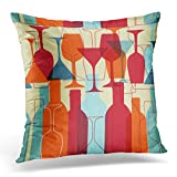 extra dry vermouth - UPOOS Throw Pillow Cover Orange Drink with Wine Bottles and Glasses Bright Colors Pattern Other Design Colorful Retro Cocktail Decorative Pillow Case Home Decor Square 18x18 Inches Pillowcase