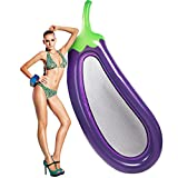 LetsFunny 99'' Eggplant Inflatable Giant Floats Rapid Valves Pool Party Beach Swimming Raft Floaty Lounger Decorations Toys