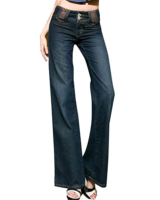 ZongSen Donna Largo Gamba Casuale Larghi Denim Jeans A