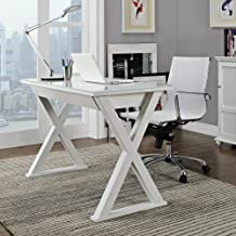 Walker Edison WE Furniture Elite Metal Computer Desk, White Glass