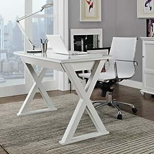 Walker Edison WE Furniture Elite Metal Computer Desk, White Glass
