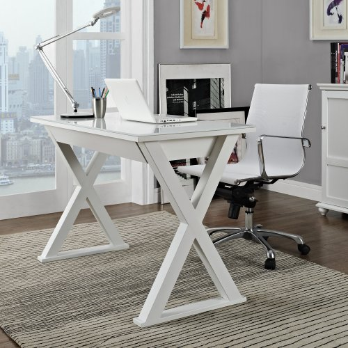 White Storage Desk (WE Furniture 48