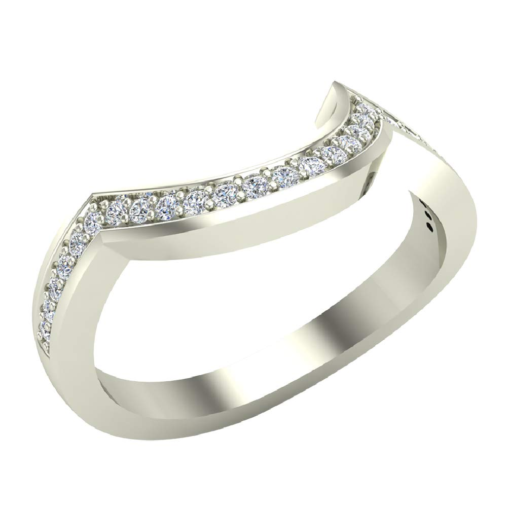 Diamond Wedding Band matching to Intertwined Engagement Ring 14K White Gold 0.13 ct tw (Ring Size 7)